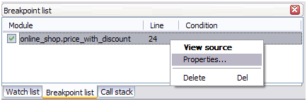 Debugger for MySQL: Breakpoint list