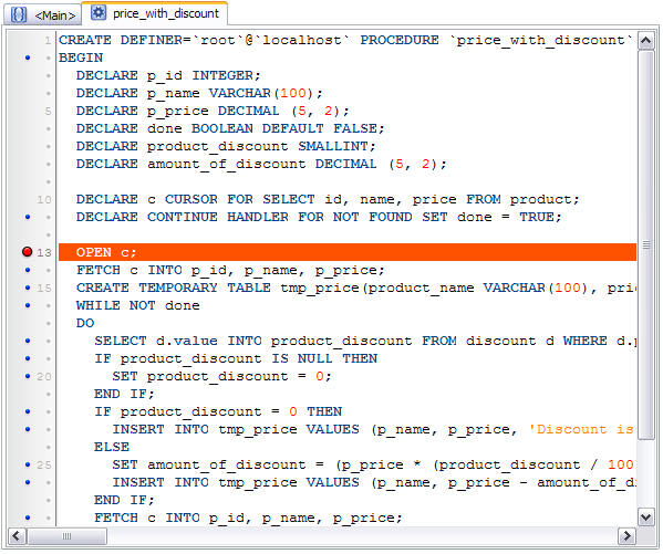 Debugger for MySQL: Procedure editor