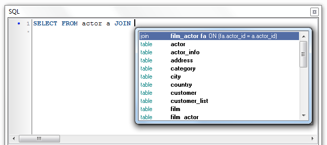 Debugger for MySQL: JOIN Autocomplete