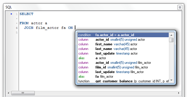 Debugger for MySQL: JOIN condition Autocomplete